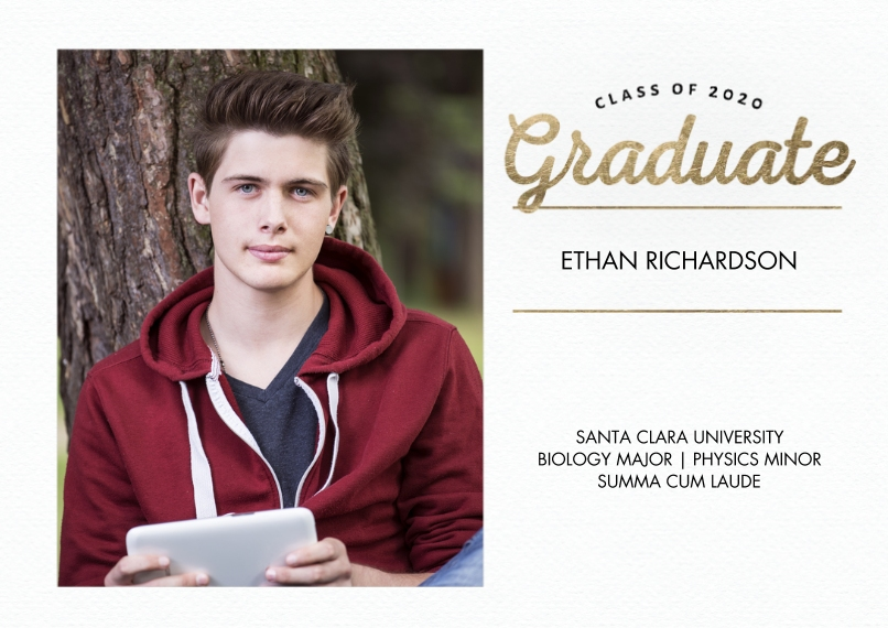 2020 Graduation Announcements 5x7 Cards, Premium Cardstock 120lb with Scalloped Corners, Card & Stationery -Graduate 2020 Script Memories by Tumbalina
