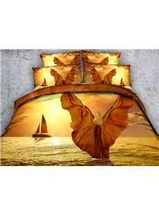 3D Girl with Wings Printed Cotton 5-Piece Comforter Sets