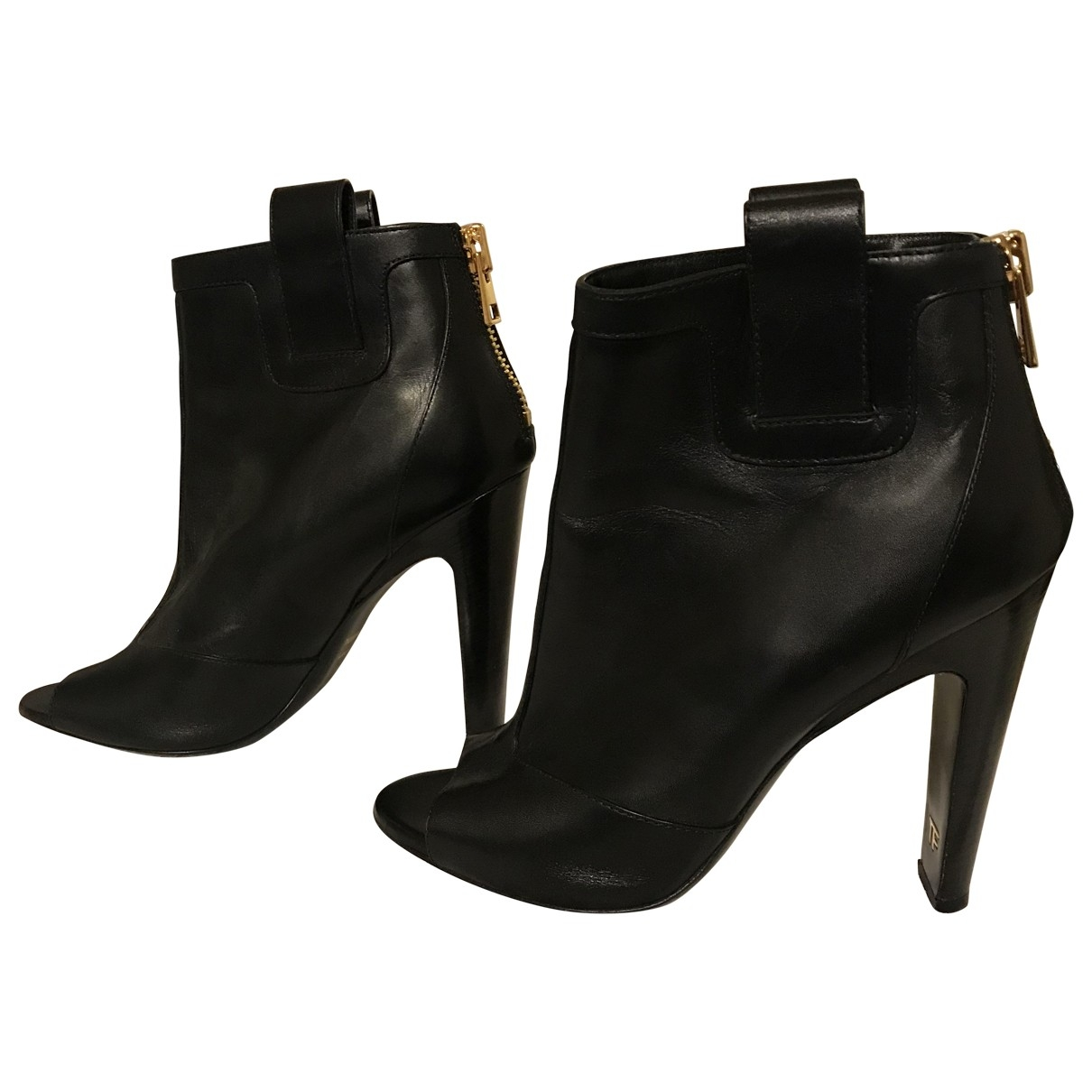 Tom Ford \N Black Leather Ankle boots for Women 39 EU