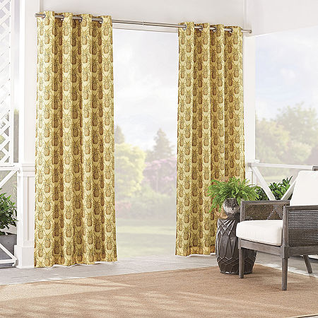 Waverly Pineapple Grove Light-Filtering Grommet-Top Single Curtain Panel, One Size , White