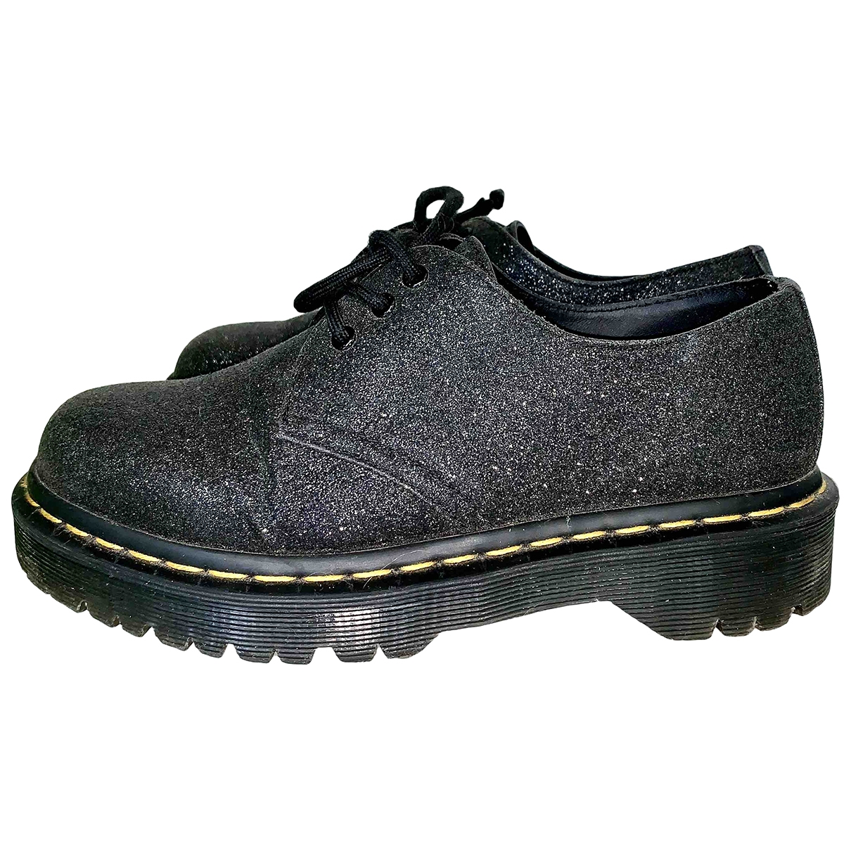 Dr. Martens \N Black Glitter Flats for Women 37 EU
