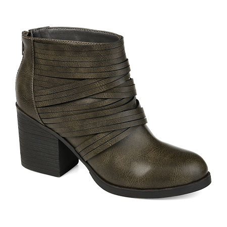 Journee Collection Womens Preslee Stacked Heel Booties, 11 Medium, Gray