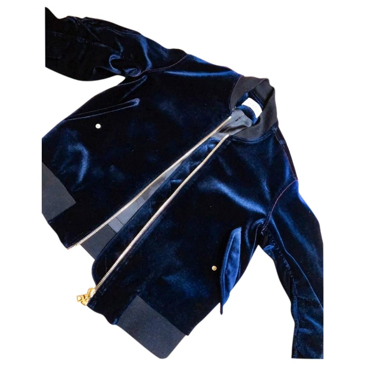 Sandro Spring Summer 2020 Navy Velvet Leather jacket for Women 36 FR