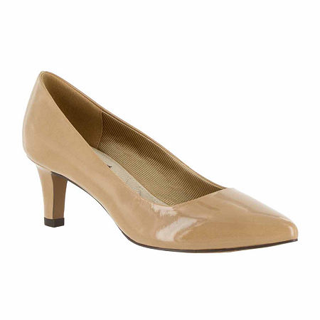 Easy Street Womens Pointe Pumps Spike Heel, 6 Medium, Beige