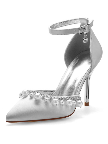 Milanoo Wedding Shoes Satin Silver Pointed Toe Pearls Stiletto Heel Ankle Strap Bridal Shoes