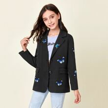 Girls Lapel Collar Butterfly Patched Blazer