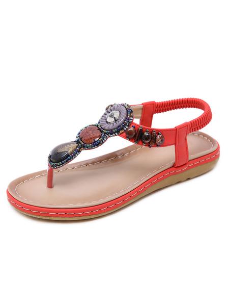 Milanoo Sandalias planas para mujer Ethnic Flat PU Leather