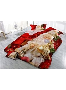 Gracious Father Christmas Carrying Gift Wear-resistant Breathable High Quality 60s Cotton 4-Piece 3D Bedding Sets