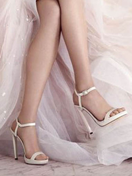 Milanoo High Heel Sandals White Open Toe Buckle Stiletto Heel Sandals Womens Dress Shoes