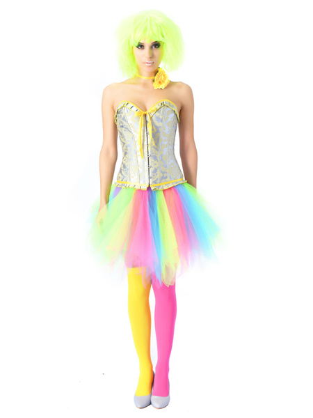 Milanoo Women Corset Dress Lace Up Overbust Corset Rainbow Short Skirt Halloween Two Pieces Set