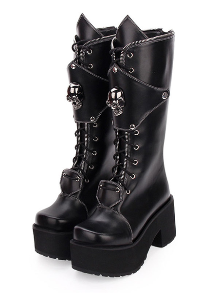Milanoo Gothic Lolita Boots Skull Lace Up Platform Chunky Heel Black Lolita Shoes
