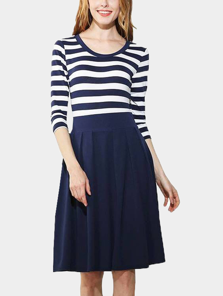 Yoins Blue Stripe Pattern Round Neck Long Sleeves Midi Dress
