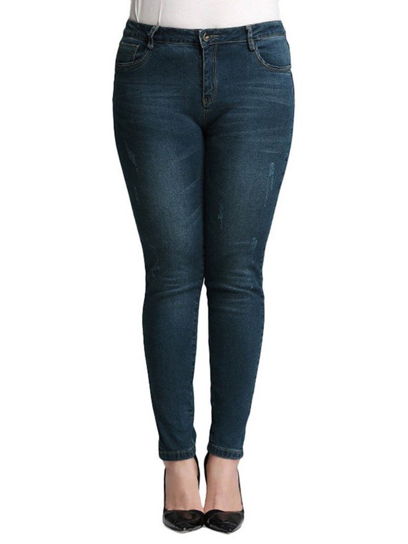 Ericdress Plus Size Pencil Pants Worn Mid Waist Skinny Jeans