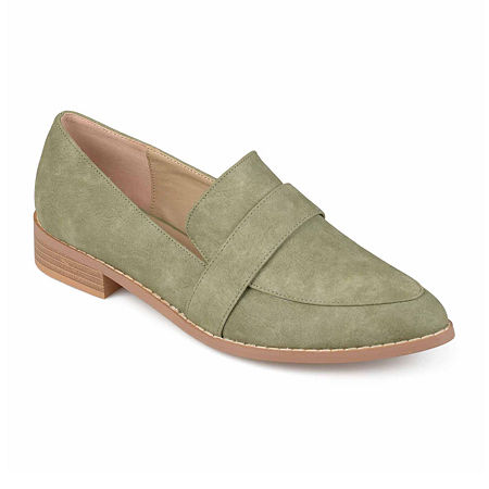 Journee Collection Womens Rossy Loafers Pointed Toe, 6 Medium, Green