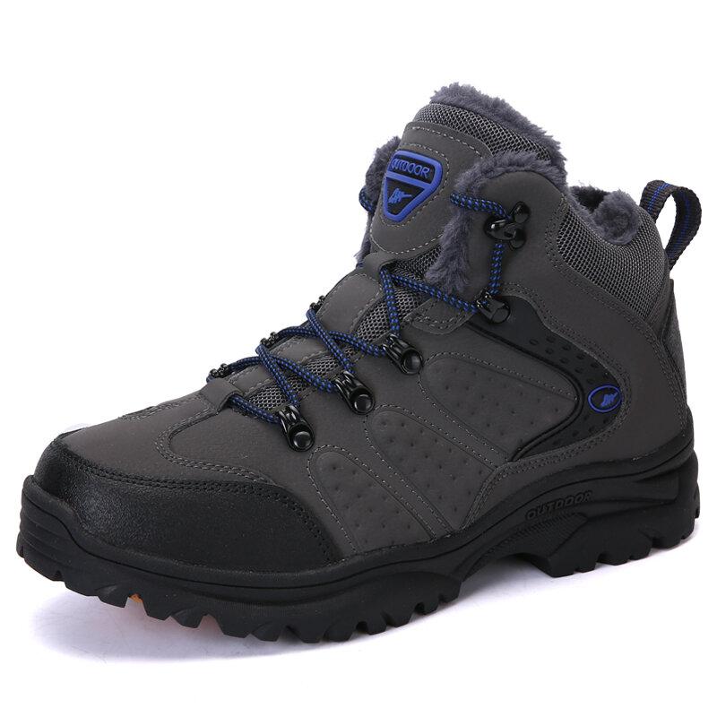 Men Outdoor Slip Resistant Warm Plush Lining Climbing Hiking Boots