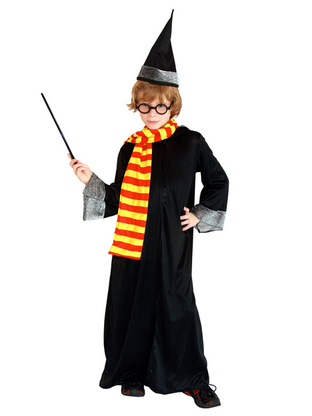 Milanoo Harry Potter Cosplay Costume Outfit Robe Uniform Hat Scarf Glasses Magic Stick 5 Piece Set Halloween