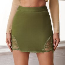 Raw Hem Ripped Bodycon Skirt