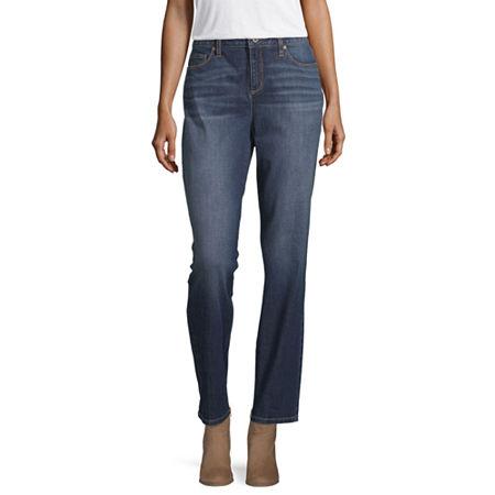 Liz Claiborne Womens Girlfriend Straight Leg Jean, 8 , Blue