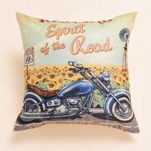 Motorcycle Print Cushion Cover Without Filler