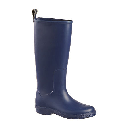 Totes Womens Cirrus Claire Tall Rain Boots Waterproof Flat Heel, 6 Medium, Blue