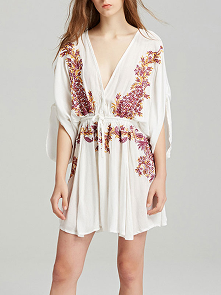 Milanoo Boho Dress Embroidered V Neck Half Sleeves Summer Dress