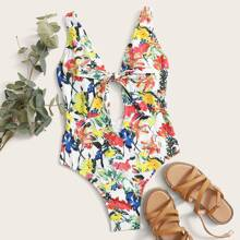 Floral Knot Front One Piece Swimsuit