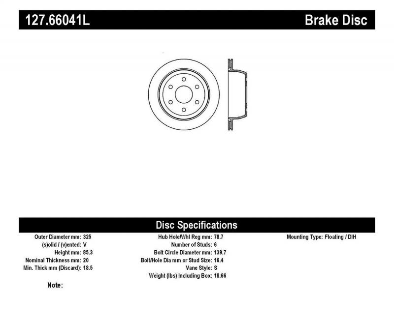 StopTech 127.66041L Sport Drilled/Slotted Brake Rotor; Rear Left Rear Left