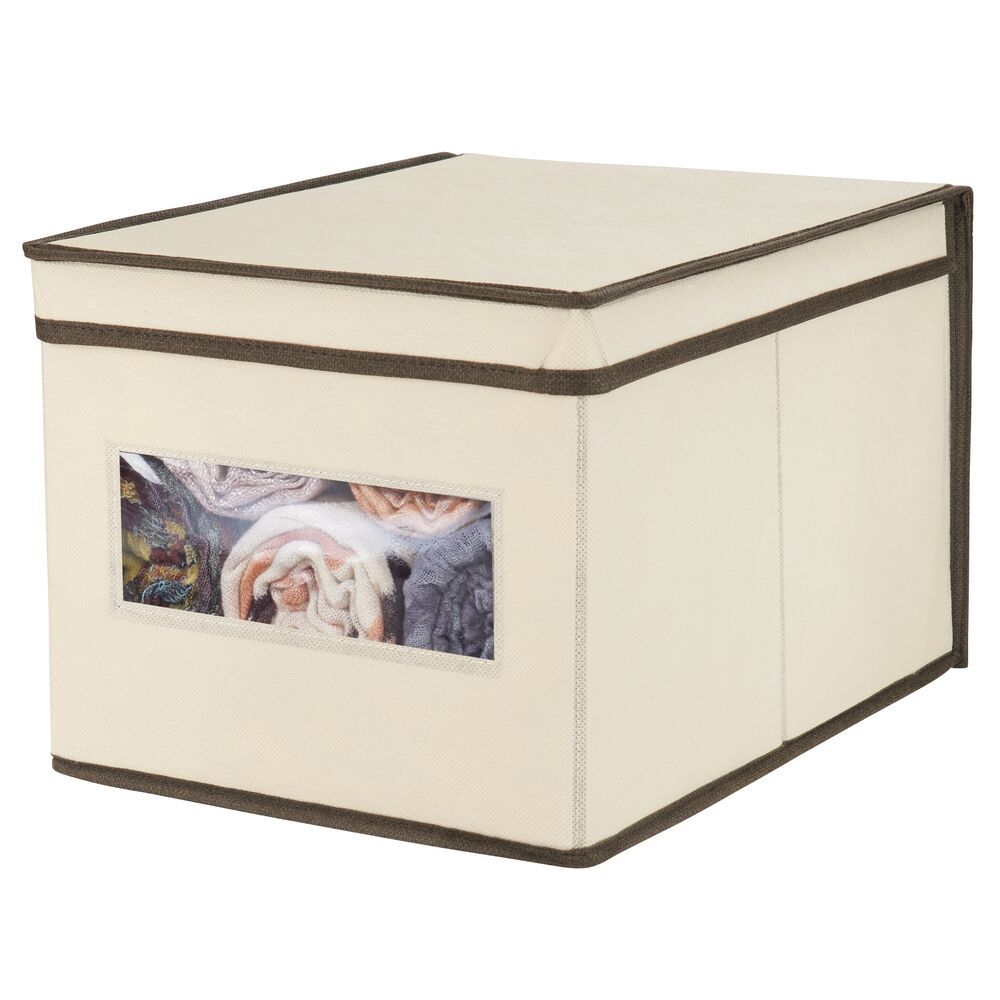 Fabric Closet Storage Bin with Window + Lid - Pack of in Cream/Espresso Brown, 15.5