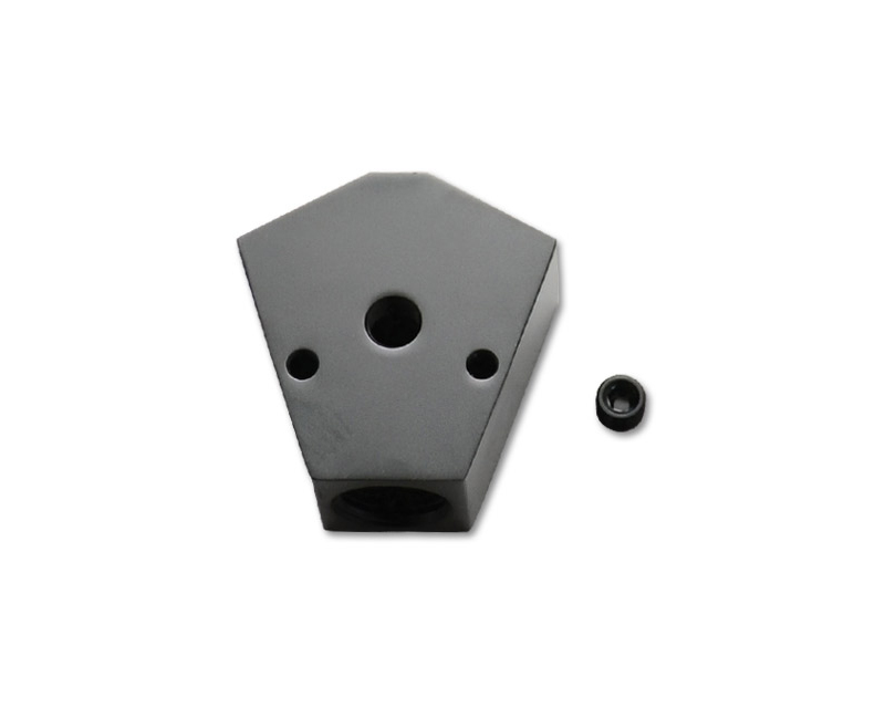 Vibrant Performance 10821 Anodized Black 1/2 NPT to 3/8 NPT and 3/8 NPT Billet Y Block with 1/8 Port