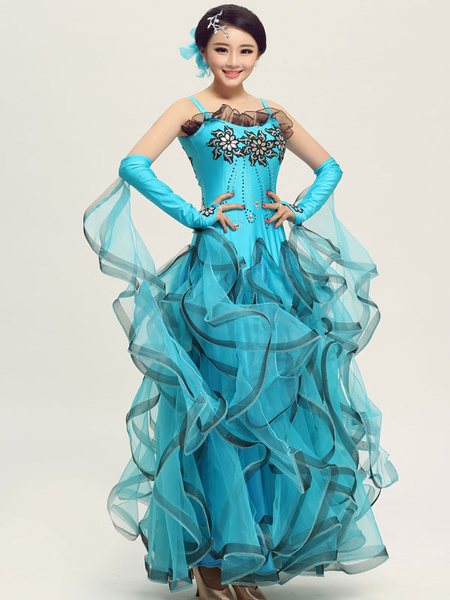 Milanoo Ballroom Dance Dress Daffodil Tulle Ruffle Sleeveless Ballroom Dancing Costume