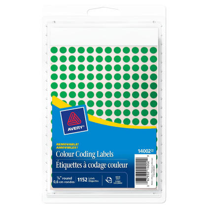 Avery@ Removable Handwrite Colour Coding Labels - 1/4�Diameter, 1152/Pack, Green
