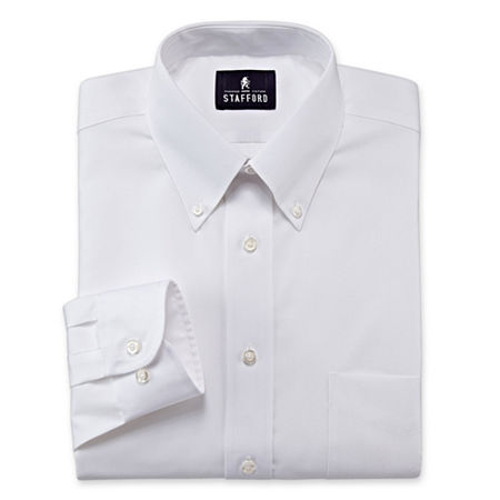 Stafford Mens Wrinkle Free Pintpoint Button Down Collar Oxford Dress Shirt, 16.5 32-33, White