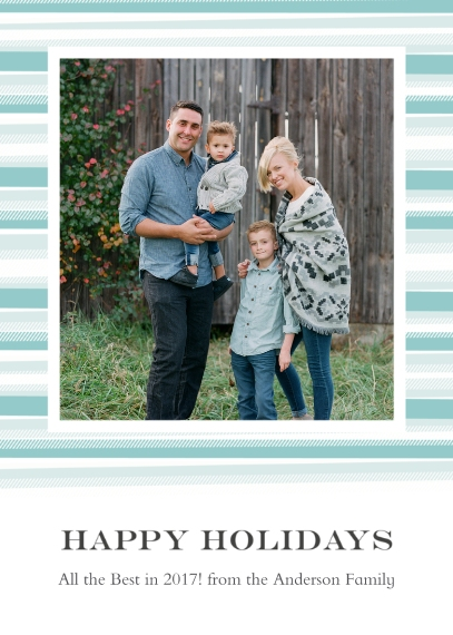 Holiday Photo Cards 5x7 Cards, Premium Cardstock 120lb with Scalloped Corners, Card & Stationery -Blanket Border Happy Holidays