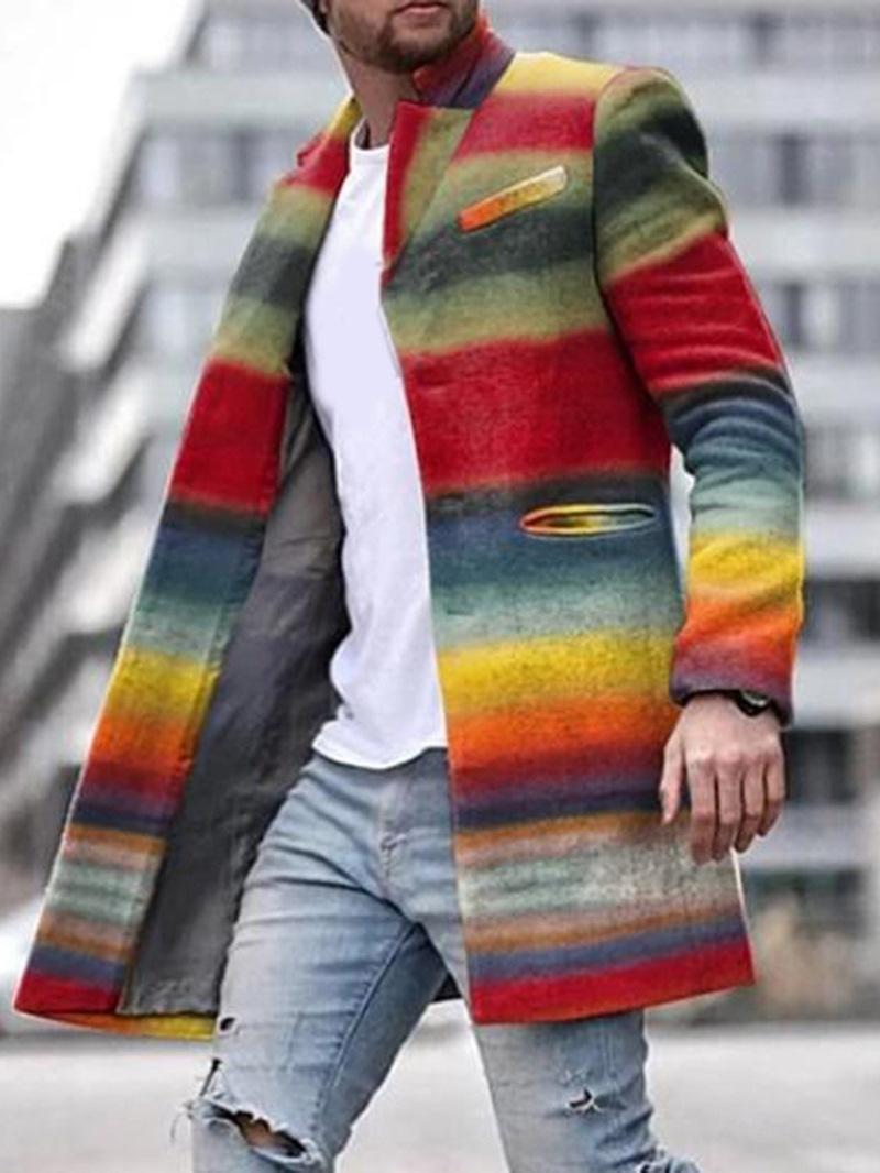 Ericdress Mid-Length Color Block Winter Slim Coat
