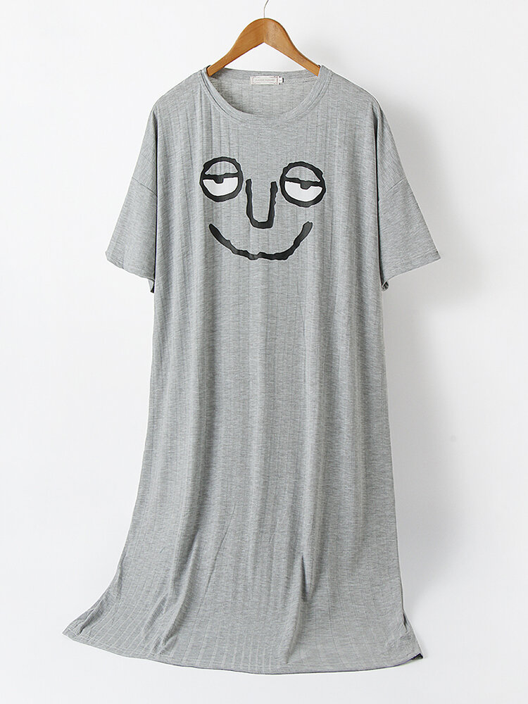 Women Cotton Funny Emojis Print Solid Color Breathable Loose Nightdress