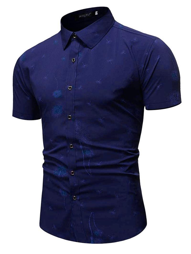 Ericdress Men's Solid Color Lapel Slim Shirt