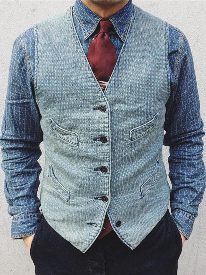 Ericdress Plain V-Neck Pocket Casual Style Men's Waistcoat