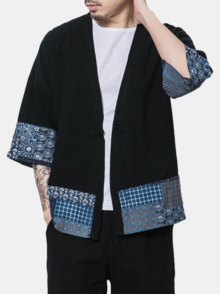 Casual Loose Printing Rerto Linen Coats For Men