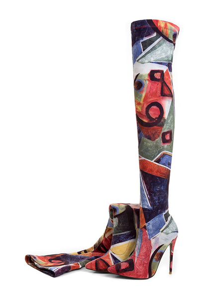 Milanoo Women Stretch Boots High Heel Over Knee Boots Orange Pointed Toe Printed Thigh High Boots