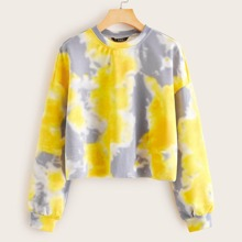 Drop Shoulder Tie Dye Pullover