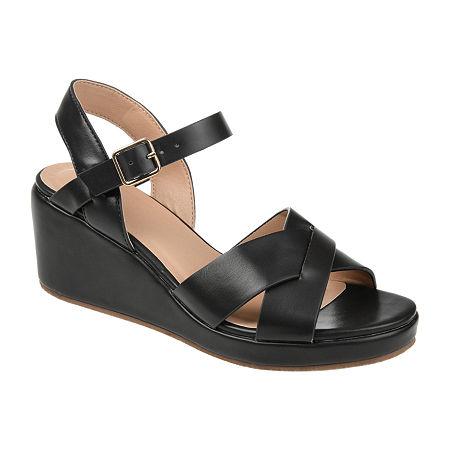 Journee Collection Womens Kirstie Pumps Wedge Heel, 7 1/2 Medium, Black