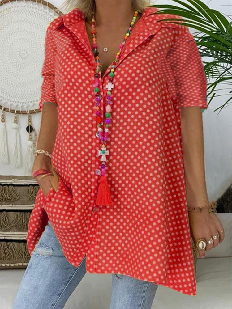Short Sleeve Polka Dot Printed Casual Blouse