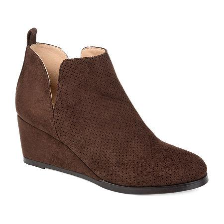 Journee Collection Womens Mylee Booties Wedge Heel, 6 Medium, Brown