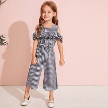 Toddler Girls Gingham Ruffle Trim Belted Culotte Jumpsuit