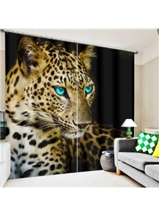 3D Printed Cheetah with Bright Blue Eyes Polyester Custom Curtain for Living Room