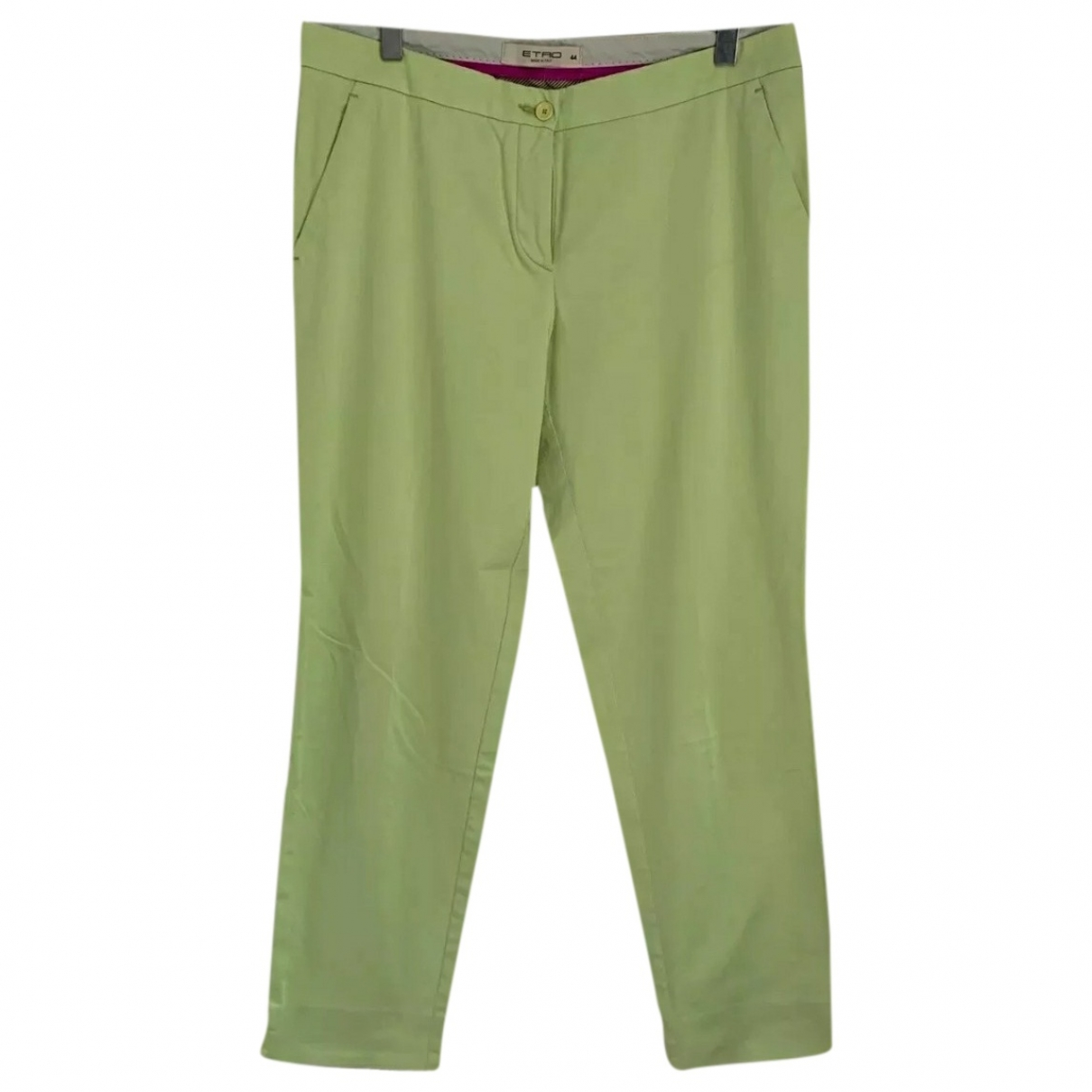 Etro \N Green Cotton Trousers for Women 44 IT