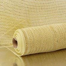 Ivory/Gold Deco Mesh W/ Metallic Stripes Colored - 21 X 10 Yards - Polypropylene / Cellophane - Wraps by Paper Mart