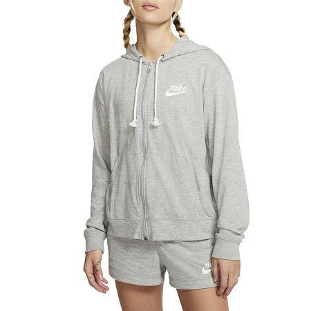 Nike Womens Hooded Neck Long Sleeve Hoodie, Large , Gray