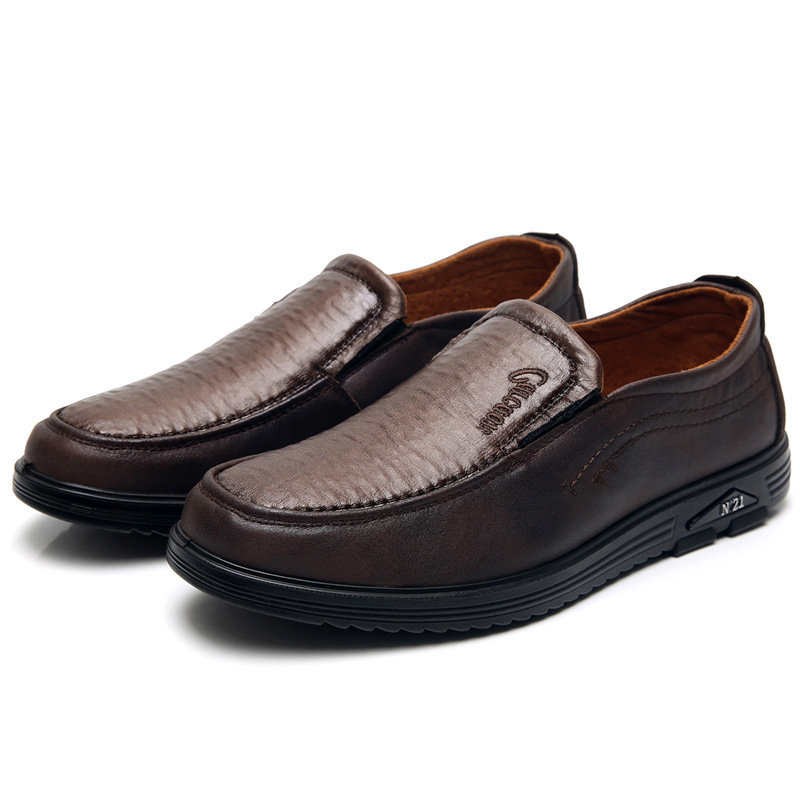 Men Pure Color Microfiber Leather Slip On Casual Shoes