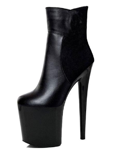 Milanoo Sexy High Heel Boots Round Toe Zipper Stiletto Heel Rave Club Black Ankle High Boots